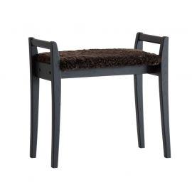 Oscarssons Möbel Meja Hallpall svartbetsad ek fårskinn brun