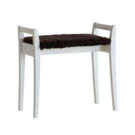 Oscarssons Möbel Meja Hallpall vitlack fårskinn brun