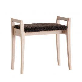 Oscarssons Möbel Meja Hallpall vitpigmenterad ek fårskinn brun
