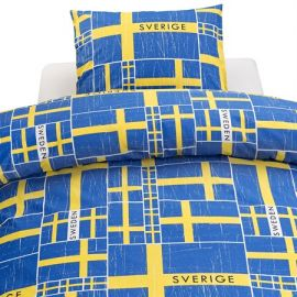 Påslakanset 2-del Svea blå/gult