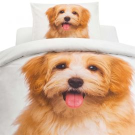 Påslakanset 2-del Digi Puppy vit/brun