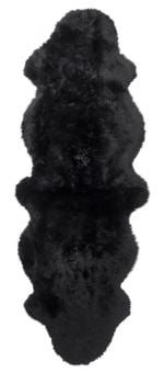 Gently långhårigt Fårskinn 2-set svart 180cm Skinnwille