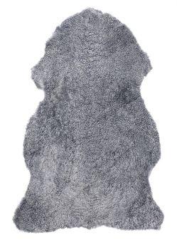 Skinnwille korthårigt fårskinn Curly grå/silver 95cm
