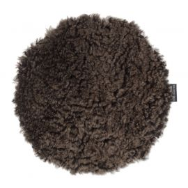 Skinnwille fårskinnssits rund Curly brun 34cm 1-p
