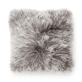 SkinnWille Kuddfodral lammskinn Shansi grå/snowtop 40x40cm