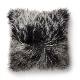 SkinnWille Kuddfodral lammskinn Shansi svart/snowtop 40x40cm