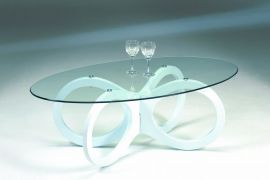 Stenexpo Loop soffbord 120x65cm vit / glas