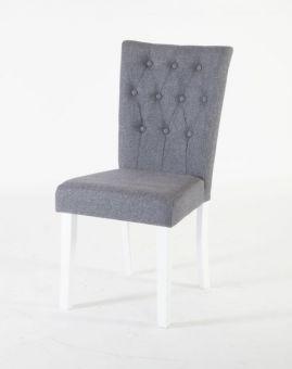 Stenexpo Båstad stol 2-pack vitlack / grått tyg