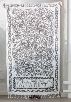Månsing Handduk/Sarong Bingels vit/grå 100x150cm