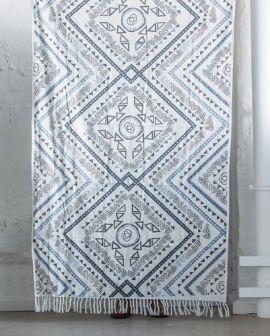 Månsing Duschhandduk Stycke blå/vit 100x150cm