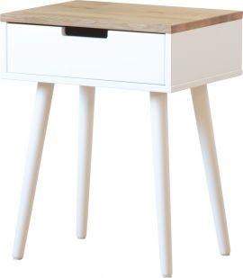 Newline Carin Sängbord 1 låda vitlack/ekfanér