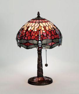 Trollslända Tiffany bordslampa röd 47cm