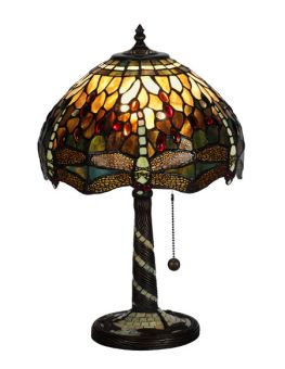 Nostalgia Design Trollslända Tiffany bordslampa grön 47cm