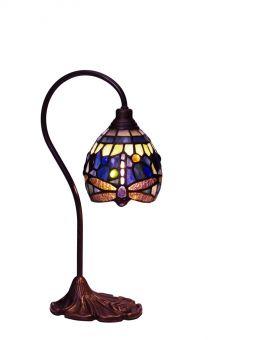 Trollslända Tiffany bordslampa blå 39cm