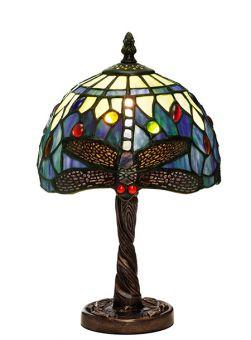 Nostalgia Design Trollslända Tiffany bordslampa blå 32cm
