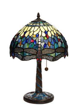 Nostalgia Design Trollslända Tiffany bordslampa blå 47cm