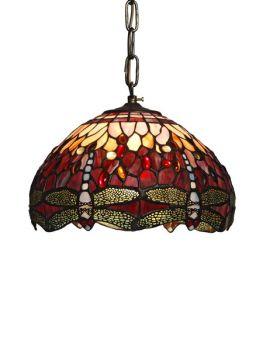 Nostalgia Design Trollslända Tiffany taklampa röd 30cm