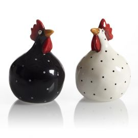 Salt- och pepparkar Höna svart/vit 8cm