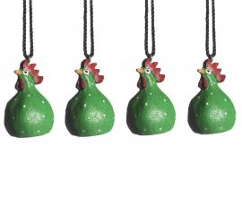Hängande Höna grön 4cm 4-pack
