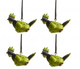 Hängande Tupp Roffe grön 4cm 4-pack