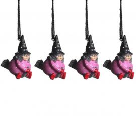 Hängande Påskkärring rosa 4cm 4-pack