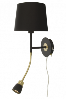 Eketorp Vägglampa svart/matt mässing 43cm