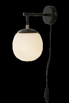 Rille Vägglampa svart/opalvit 27cm