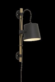Espresso Vägglampa svart/trä 45cm