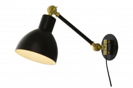 Dublin Vägglampa svart/matt mässing 40cm