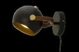 Bow Vägglampa svart/matt mässing 24cm