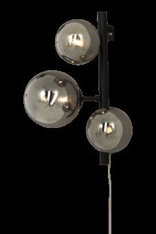 Molekyl Vägglampa svart/rökgrå 36cm