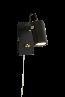 Cilindro Sänglampa svart/matt mässing 15cm