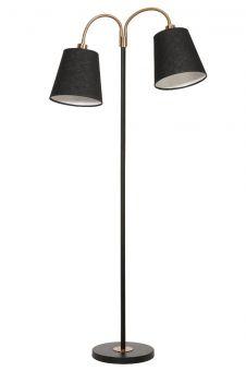 Cia Golvlampa 2 skärmar svart/mässing 160cm