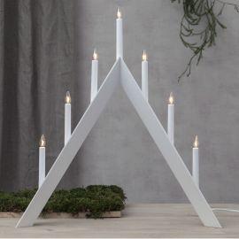 Elljusstake Arrow 7L i trä vit 65cm hög