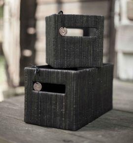 Månsing Förvaringslådor Böddalonse 3-p strå mörkgrå