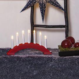 Adventsljusstake Bea trä röd  39cm