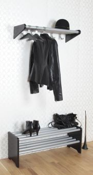 Moa skohylla och hatthylla svart 80-130cm