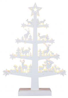 Lazer cut gran med hjortar och träd mönster, vit