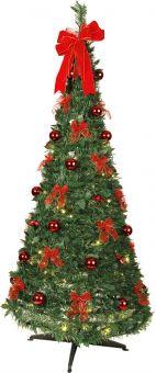Pop-up tree 185cm grön med röda dekorationer från Star Trading