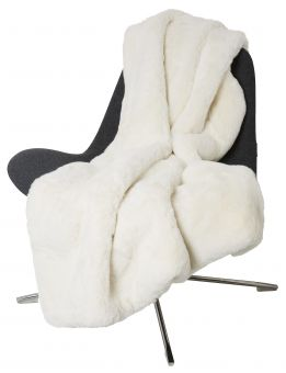 Fluffy Pläd fuskpäls offwhite 120x180cm Skinnwille