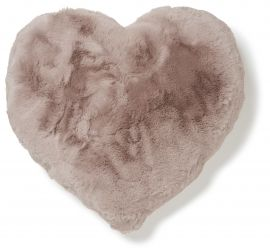 Fluffy Heart Kudde fuskpäls rosa 45x45cm Skinnwille