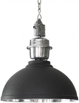 Manchester taklampa i svart med kedja och kätting i rå silver