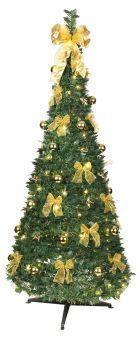 Pop-up tree 185cm grön med guld dekorationer från Star Trading