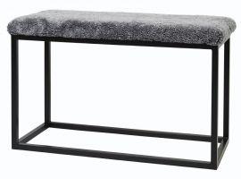 Fårskinnspall Palle L grå/svart L80xD35xH50 Skinnwille