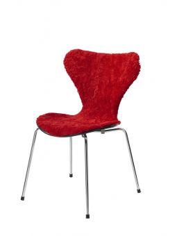 Stolsöverdrag i fårskinn till Sjuan stol 50x80cm ruby