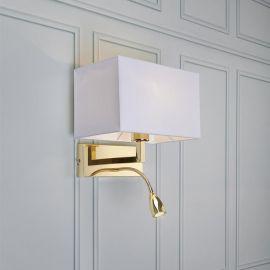 Savoy vägglampa med läslampa mässing/vit
