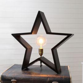 Lysekil trästjärna svart 50cm E27 lamphållare i mässing miljöbild