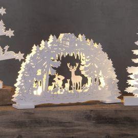 Elljusstake Fauna lazer cut med LED vit 42cm miljöbild