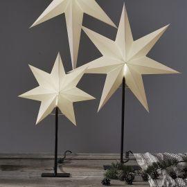 Frozen adventsstjärna vit på svart metallfot 80cm miljöbild
