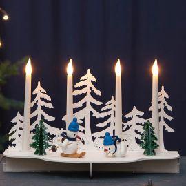 Elljusstake Snow i trä med snögubbar och ljus 30cm